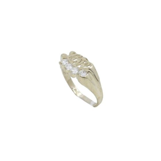 10k Yellow Gold Syntetic white love gemstone ring ajr26 Size: 7 1
