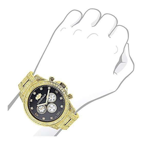 Fully Iced Out Mens Diamond Watch 3Ctw Of Diamon-3