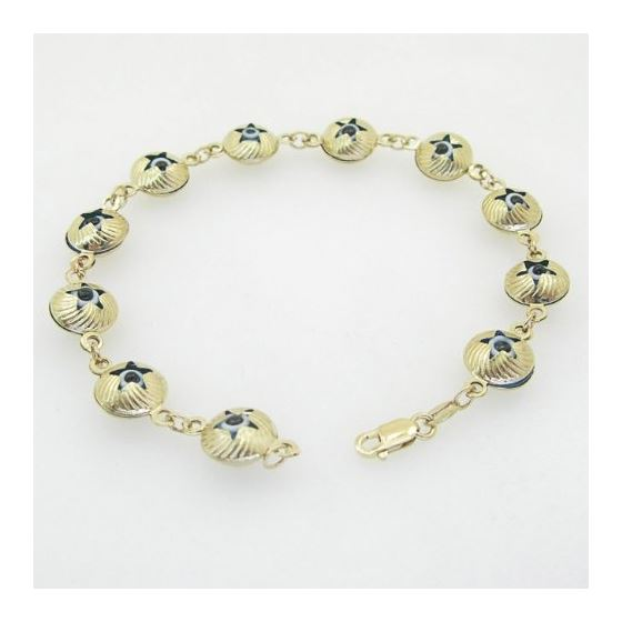 Ladies 10K Solid Yellow Gold evil eye star bracelet Length - 7 inches Width - 10mm 3