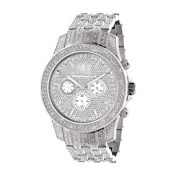 Iced Out Watch Chronograph Subdials Real Luxurman Mens Genuine Diamonds 1.25ct 1