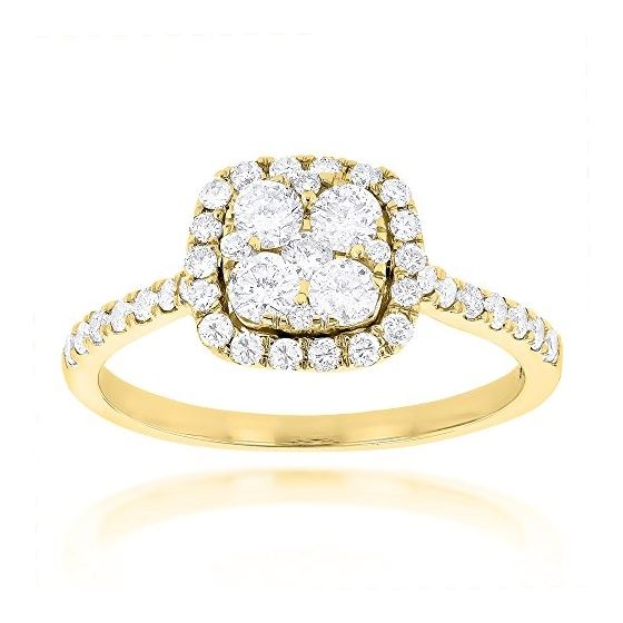 040ebcd7c9254 14K Natural 1 Ctw Diamond Engagement Ring Halo Cluster Setting (Yellow Gold  Size 7)