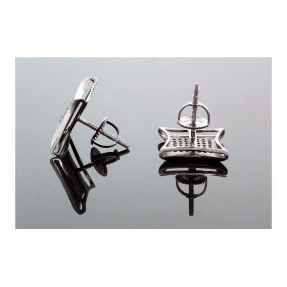 .925 Sterling Silver Black Square Black Onyx Crystal Micro Pave Unisex Mens Stud Earrings 12mm 3