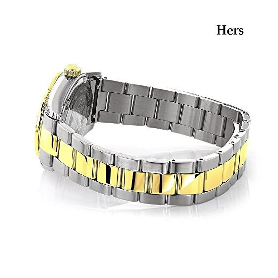 Matching Watches For Couples Two-Tone Yellow Gol-3