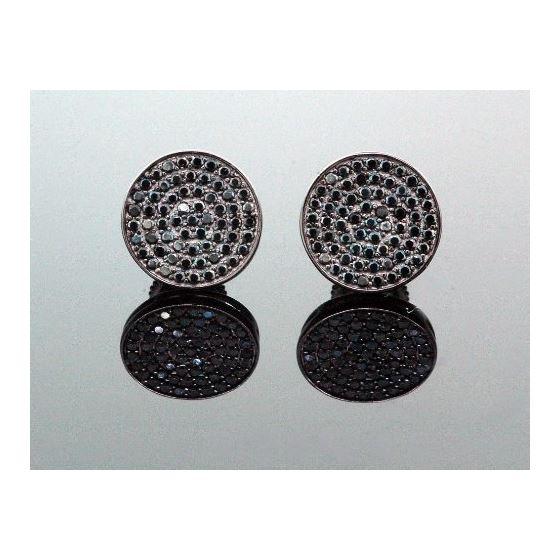 .925 Sterling Silver Black Circle Black Onyx Crystal Micro Pave Unisex Mens Stud Earrings 8mm 1