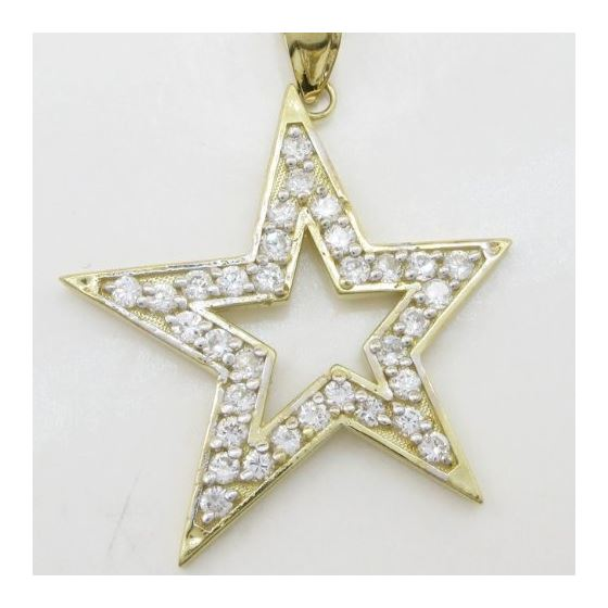 Mens 10k Yellow gold Outer star of david gold cz pendant GCHA35 3