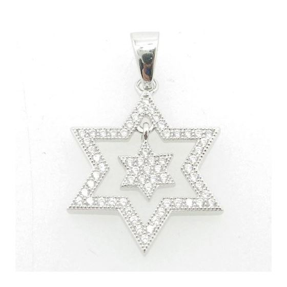 Ladies .925 Italian Sterling Silver star within star of david pendant Length - 26mm Width - 16.5mm 1