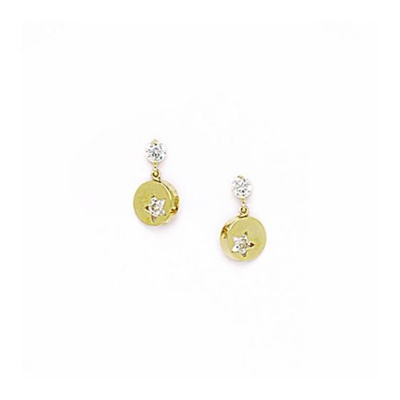 14K Yellow Gold star oval drop shap with cz earrings screw back Size: Actual Image