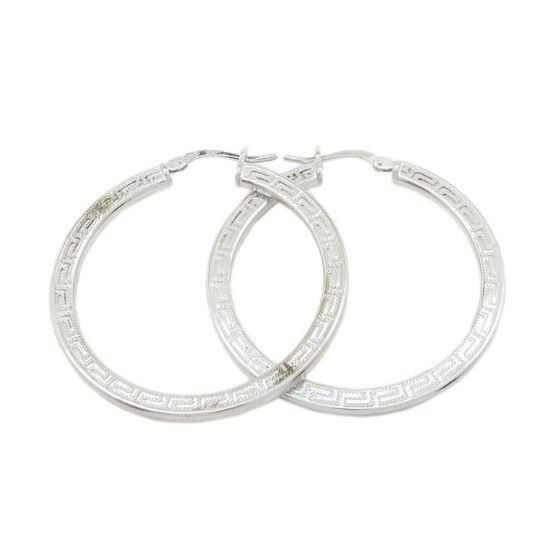 Round greek key hoop earring SB84 38mm tall and 36mm wide 1
