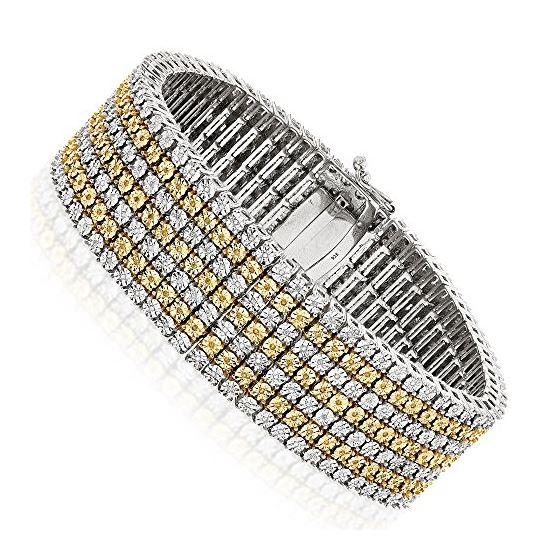 7 Row White Yellow Natural 1.5 Ctw Diamond Bracele