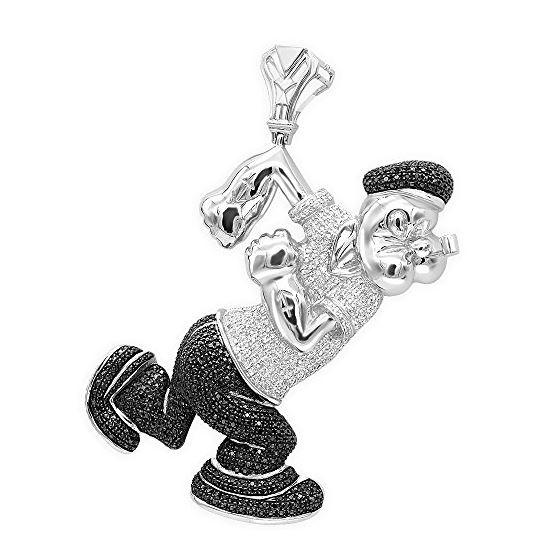 Cartoons: Mens White Black Diamond Popeye Pendant