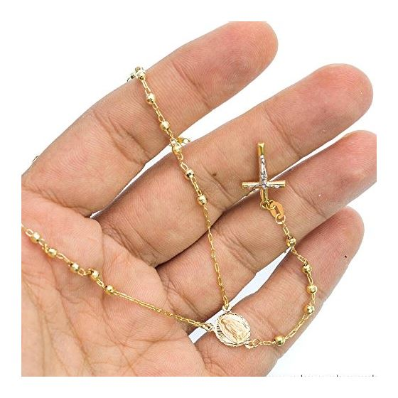 10K YELLOW Gold HOLLOW ROSARY Chain - 28 Inches Long 3MM Wide 3