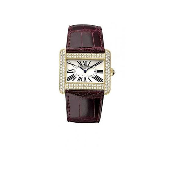 Cartier Tank Divan 18kt Yellow Gold Diamond Mens Watch WA301170