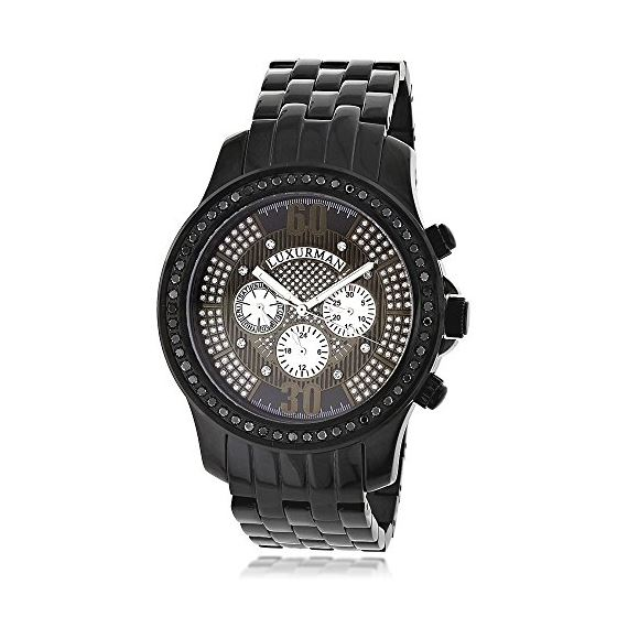 Trendy Mens Genuine Black Diamond Watch by Luxurman 2.25ct Extra Leather Bands 1