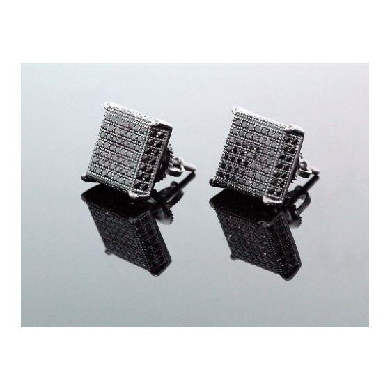 .925 Sterling Silver Black Square Black Onyx Crystal Micro Pave Unisex Mens Stud Earrings 12mm 1