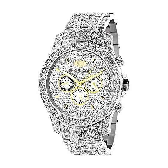 Luxurman Mens Three Chronograph Watches Genuine Diamond Watch 1.25ct 1