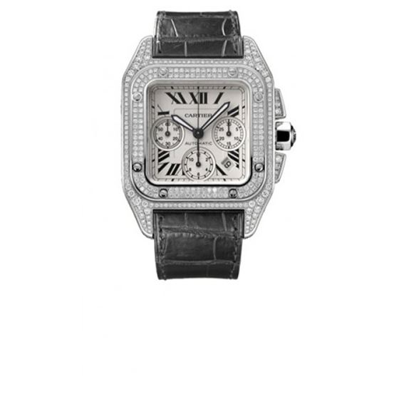 Cartier Santos 100 Diamond 18kt White Gold XL Mens Watch WM500651