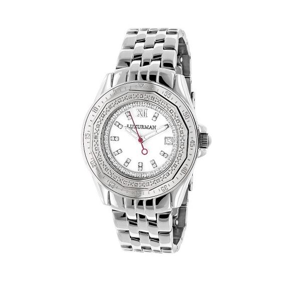 Ladies Real Diamond Watch 0.25ct By Luxurman White MOP Leather Band Japan Movt 1
