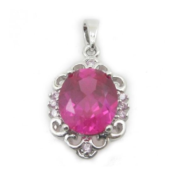 Ladies .925 Italian Sterling Silver chandelier pendant with pink stone Length - 27mm Width - 14mm 1