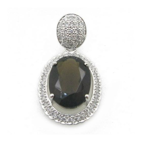 Ladies .925 Italian Sterling Silver tear drop pendant with black stone Length - 1.38 inches Width -