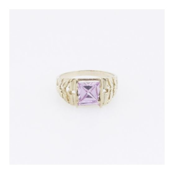 10k Yellow Gold Syntetic pink gemstone ring ajjr52 Size: 2.25 3