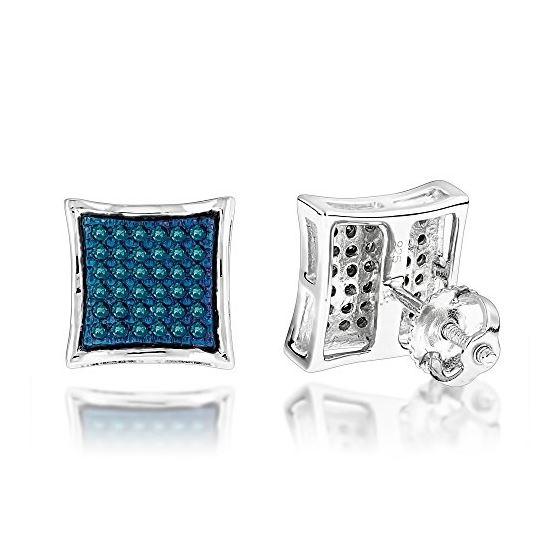 """""""Blue Diamond Stud Earrings Silver (0.3 Ctw"""