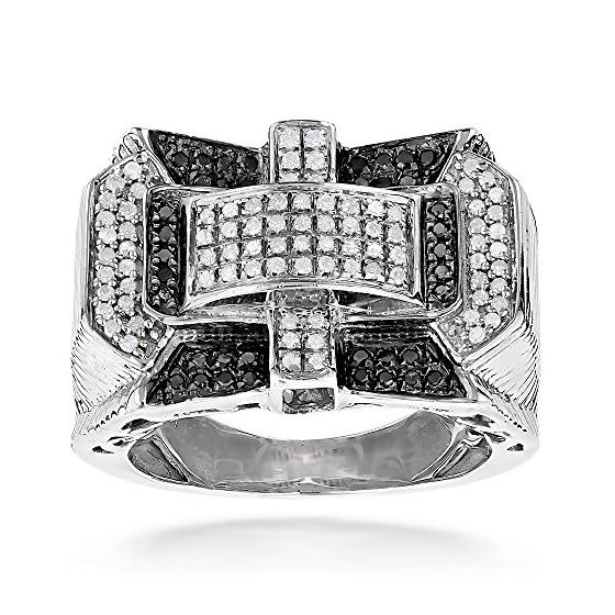 """1 Carat White Black Diamond Ring for Men Sterling Silver by LUXURMAN (1 Ctw"