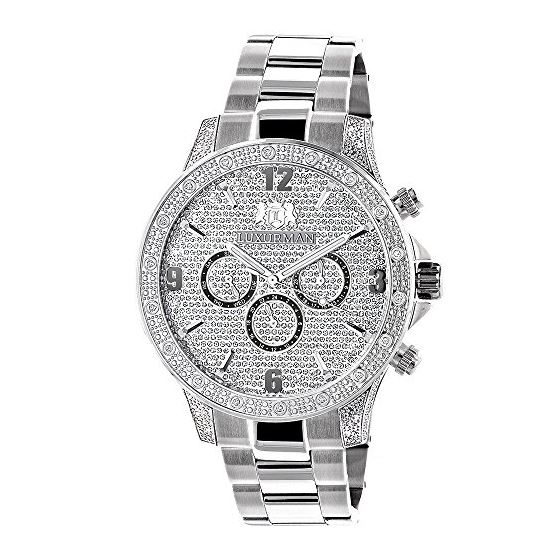 Celebrity Liberty Genuine Diamond Watch for Men 0.5ct Swiss Movt by Luxurman 1