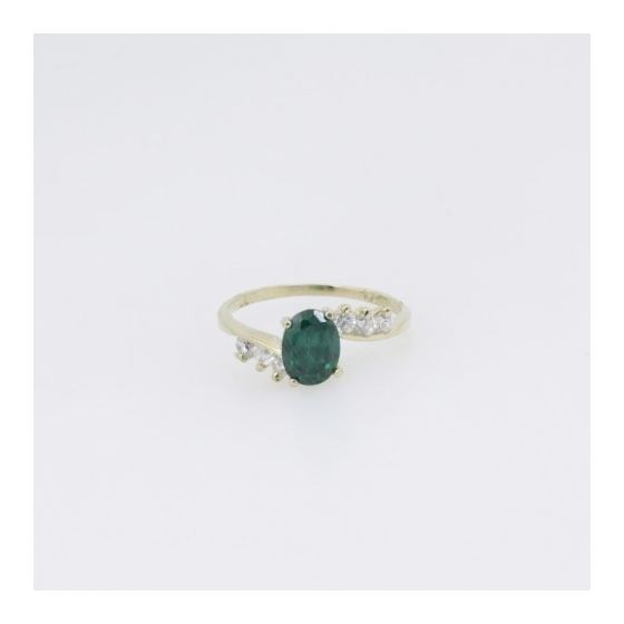 10k Yellow Gold Syntetic green gemstone ring ajr8 Size: 8 3
