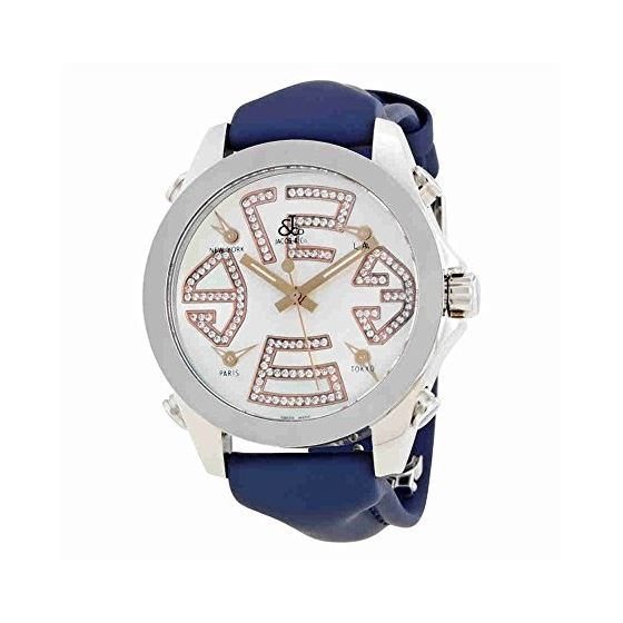 Jacob Co Brown Band 5 Time Zone Rose Gold Numerals