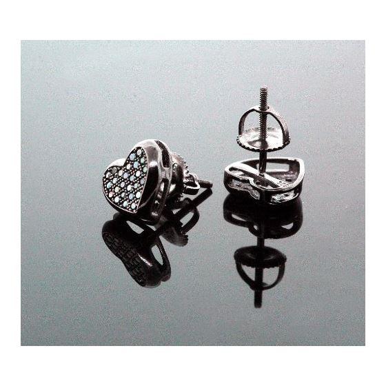 .925 Sterling Silver Black Heart Black Onyx Crystal Micro Pave Unisex Mens Stud Earrings 8mm 3