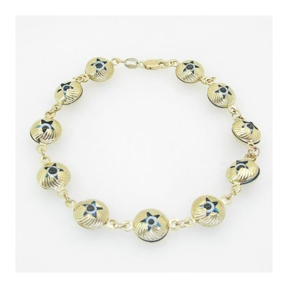 Ladies 10K Solid Yellow Gold evil eye star bracelet Length - 7 inches Width - 10mm 1