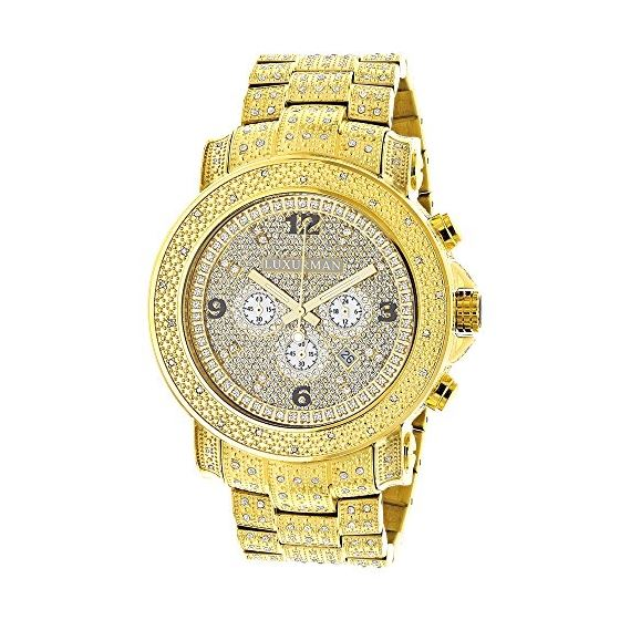 Luxurman Oversized Iced Out Mens Diamond Watch Yellow Gold 2ct Chronograph 1