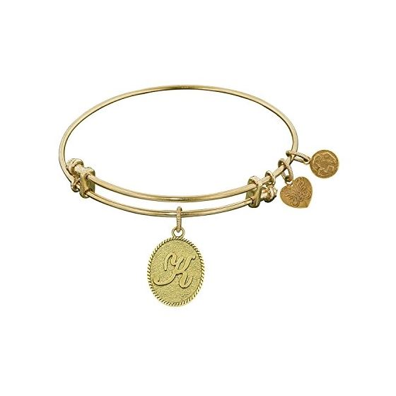 Angelica Ladies Initials Collection Bangle Charm 7.25 Inches (Adjustable) GEL1165