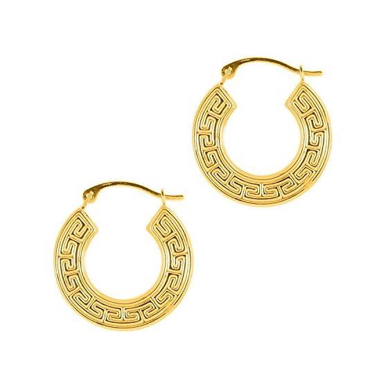 14K Yellow Gold Shiny Textured Flat Greek Key Small Hoop Earring