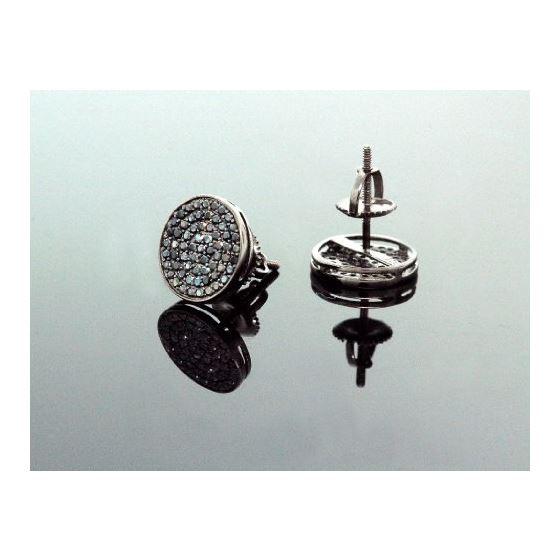 .925 Sterling Silver Black Circle Black Onyx Crystal Micro Pave Unisex Mens Stud Earrings 8mm 3