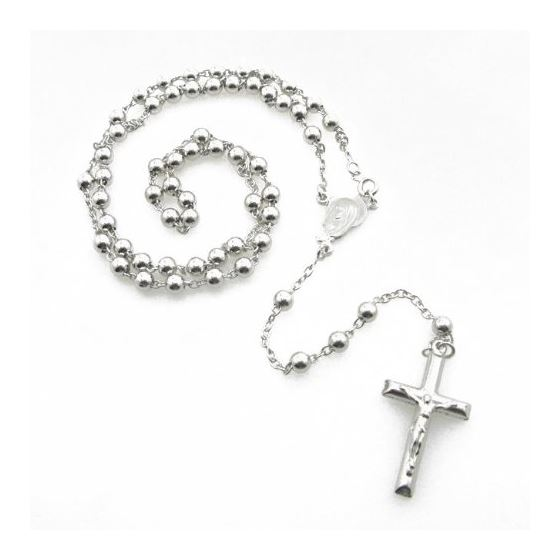 Mens .925 Italian Sterling Silver white beaded rosary Length - 24 inches Width - 5mm 1