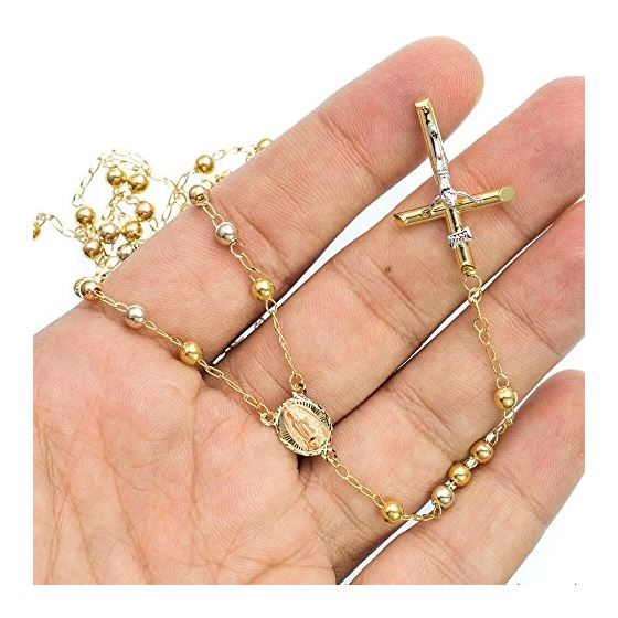 10K 2TONE Gold HOLLOW ROSARY Chain - 30 Inches Long 4.02MM Wide 3
