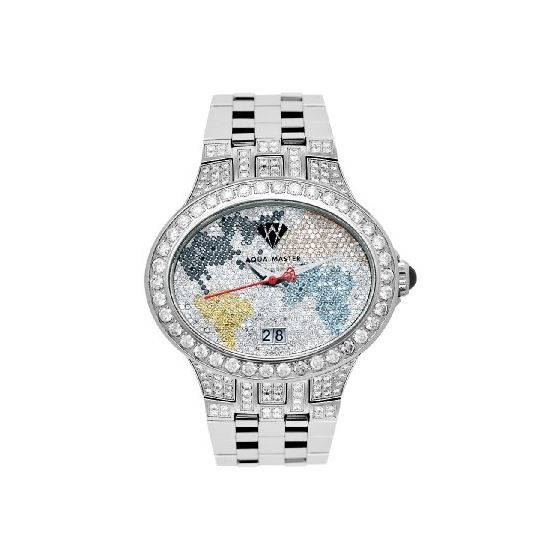 NEW! Men's Oval World Map Diamond Watch, 12.00