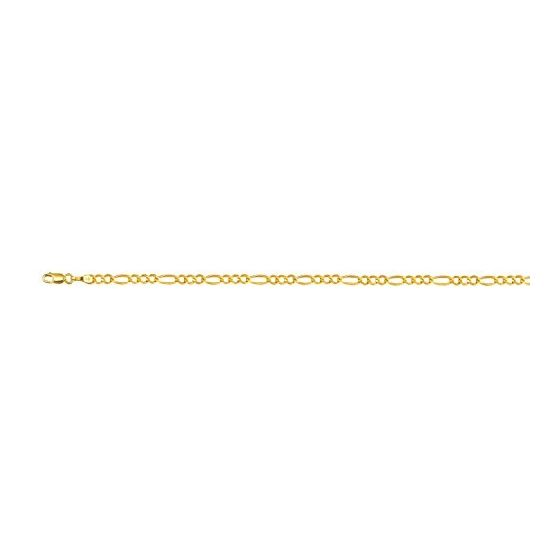 10K Yellow Gold 4.0mm Diamond Cut Royal Figaro Link Bracelet with Lobster Clasp