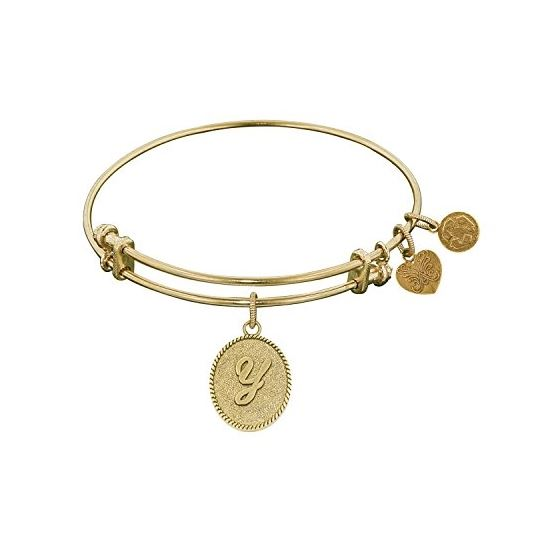 Angelica Ladies Initials Collection Bangle Charm 7.25 Inches (Adjustable) GEL1179