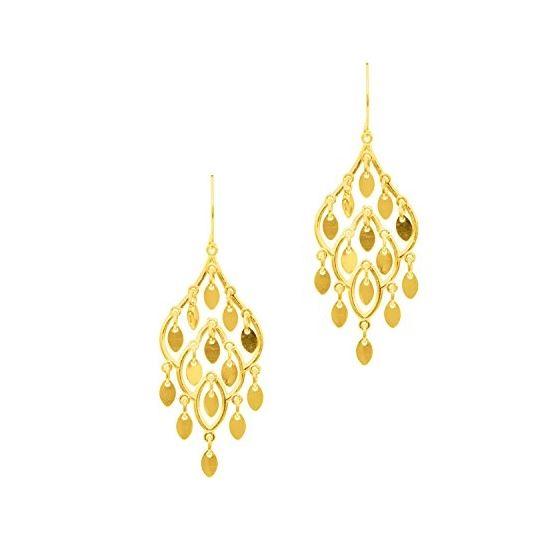 10K Yellow Gold Ladies Drop Earrings ZER949