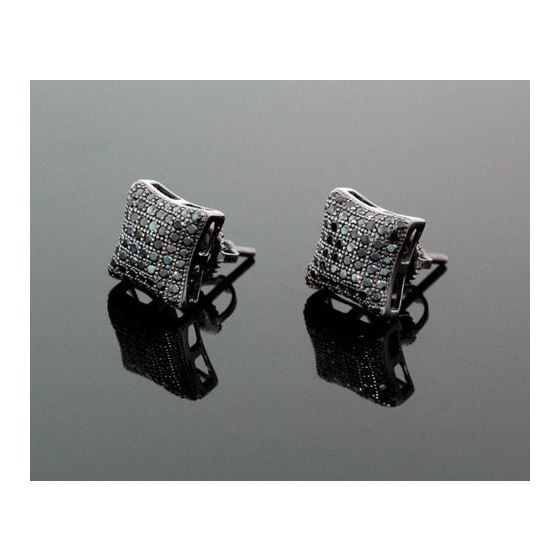 Sterling Silver Unisex Fashion Hand Set Stud Earrings ME0217 1