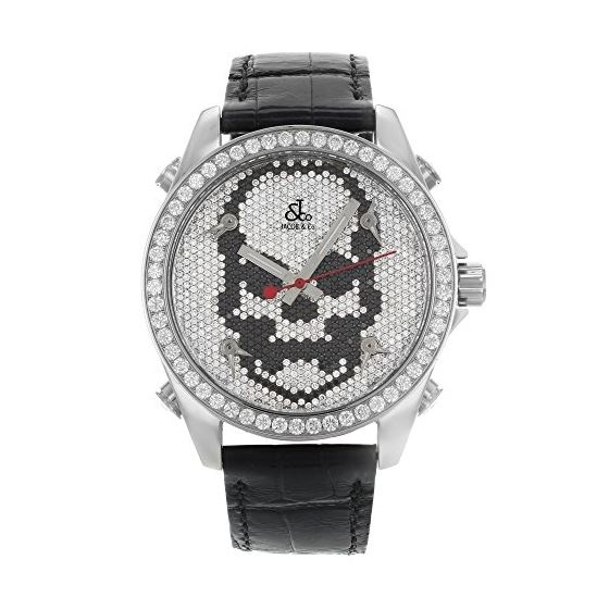 Jacob Co. Black Band Five Time Zone Skull Dial 5.0