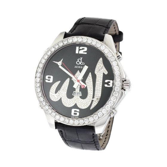 Jacob Co. Black Leather Band Fivetime Zone 4.5Ct D