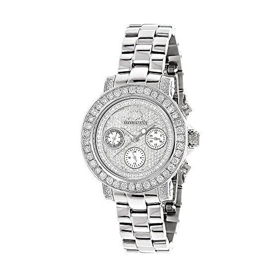 Ladies Diamond Watch Silver Tone 3ct Lux 89974 1