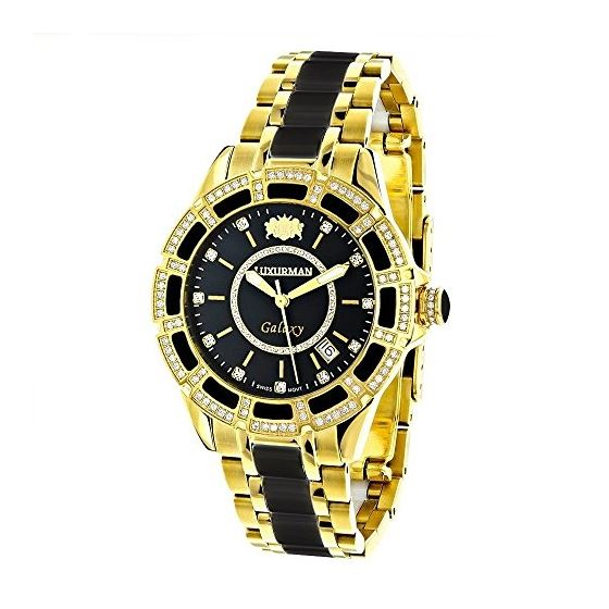 Real Diamond Mens And Womens Black Ceramic Watches Yellow