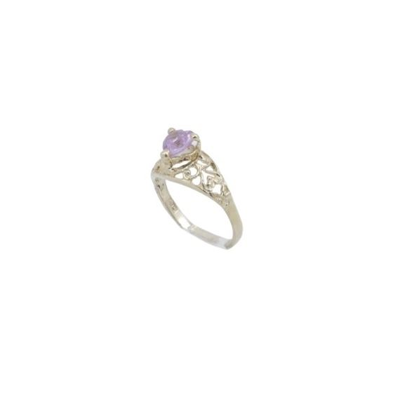 10k Yellow Gold Syntetic pink gemstone ring ajjr75 Size: 2.25 1