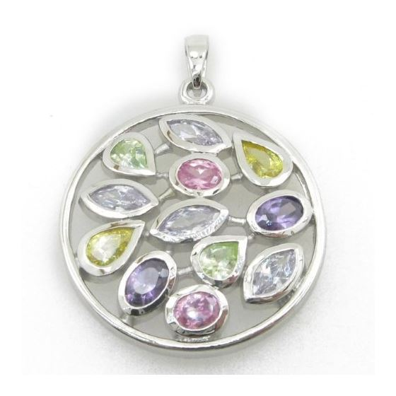 Ladies .925 Italian Sterling Silver round multi stone pendant Length - 1.54 inches Width - 1.18 inch
