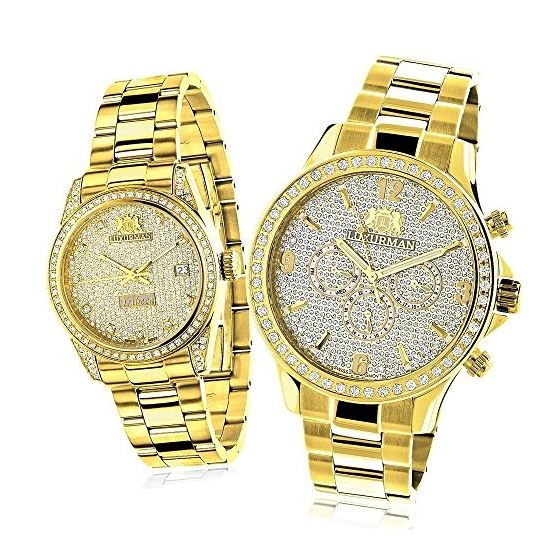 His And Hers Watches: Yellow Gold Plated Diamond W