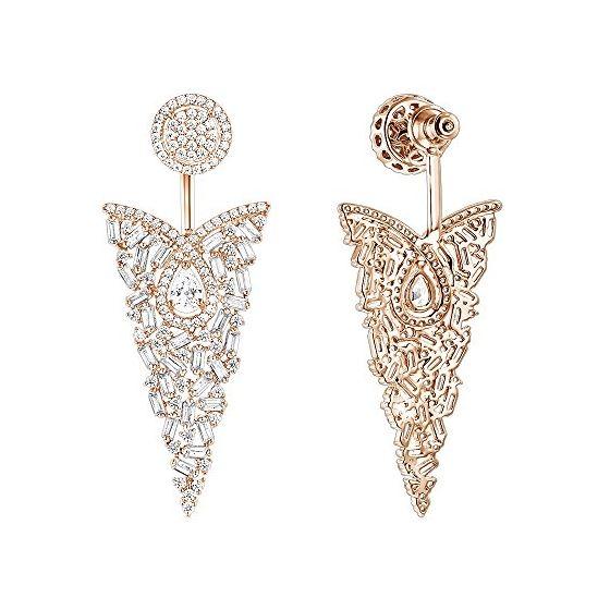 Unique 14K Designer Baguette Round Diamond Earring